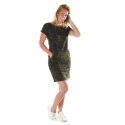 Dames jurk army green leaves